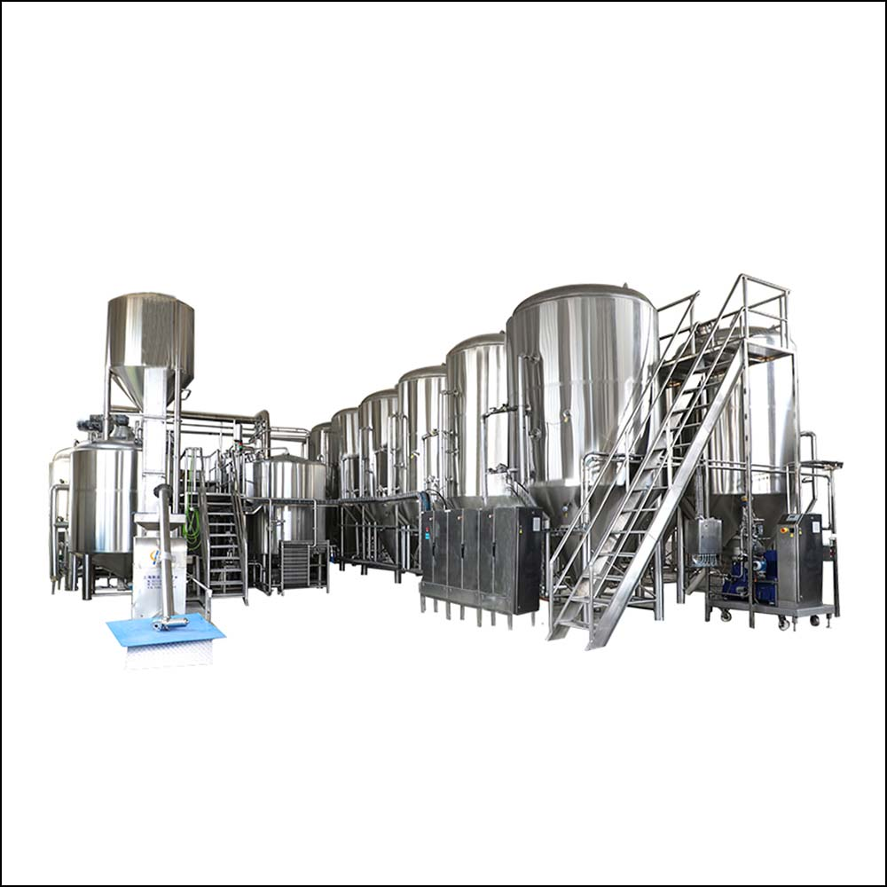 Large stainless steel craft beer brewing line